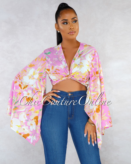 Margali Pink Floral Print Front Tie Sheer Blouse