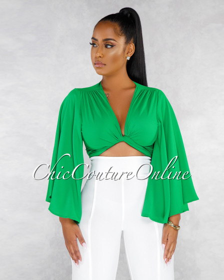 Mistral Emerald Green Front Tie Blouse