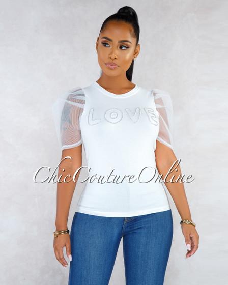 Amor White Rhinestones Front Puffy Mesh Sleeves Shirt