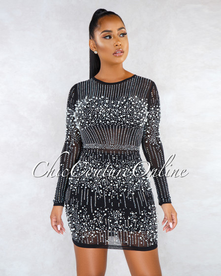 Catrin Black Pearl Rhinestones Mesh Mini Dress