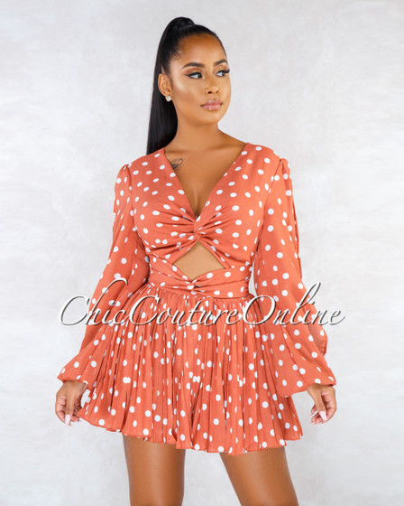 Petal Rust White Polka Dots Double Knot Pleated Romper