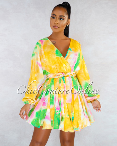 Zurie Yellow Multi-Color Pleated Bottom Skater Dress