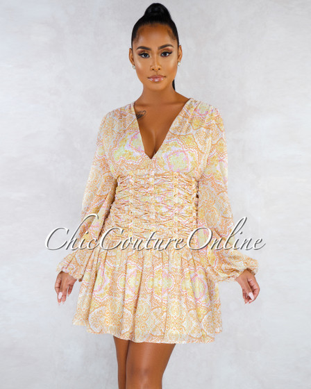 Bisou White Mustard Paisley Print Lattice Waist Design Dress