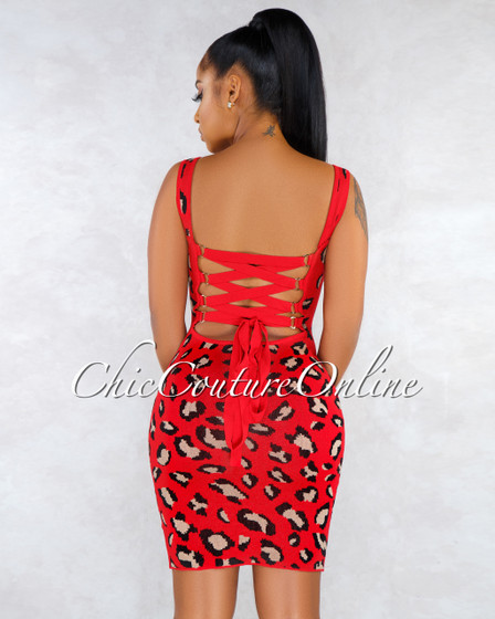 Valdine Red Leopard Print Lace-Up Back Knit Dress