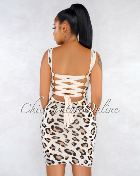 Valdine Nude Leopard Print Lace-Up Back Knit Dress