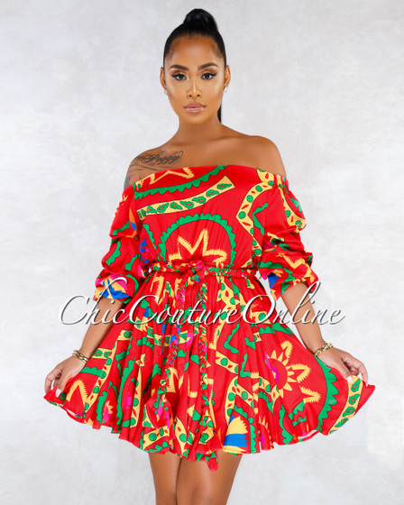 Amire Red Multi-Color Pleated Bottom Skater CURVACEOUS Dress