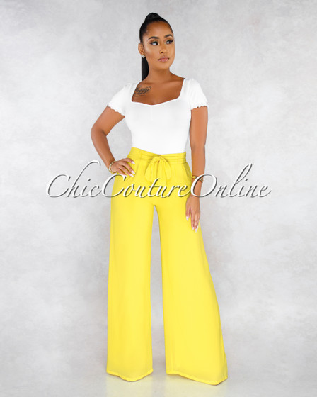 James Yellow High Waist Self-Tie Belt Wide Legs Pants