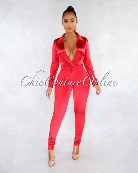 Monroe Red Bodysuit Slim Pants Luxe Silky Set