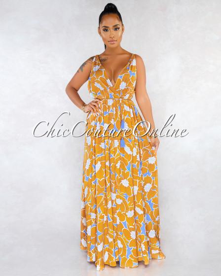 Barlovento Mustard White Blue Floral Print Halter Maxi Dress