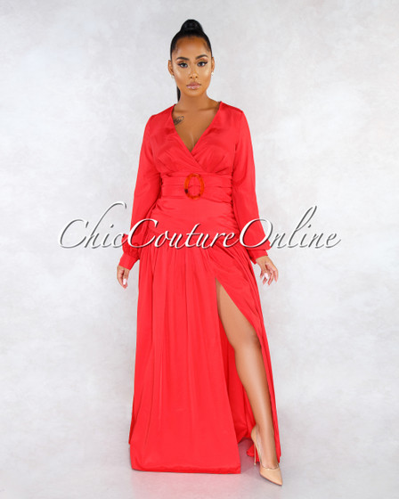 Showstopper Red Long Sleeves Belt Maxi Dress
