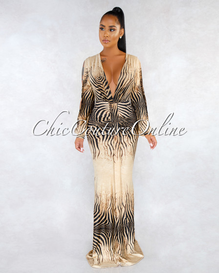Shakira Nude Black Tiger Print V-Neck Drape Maxi Dress