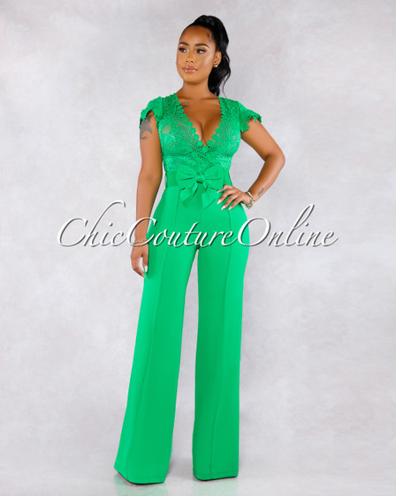 Fiorella Emerald Green Lace Sheer Top Bow Belt Jumpsuit