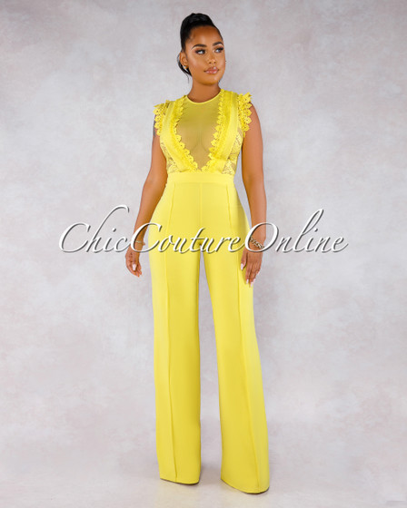 Amidah Yellow Lace Crochet Sheer Top Jumpsuit