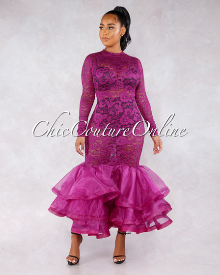 San Jose Magenta Lace Tulle Ruffle Mermaid Hem Gown