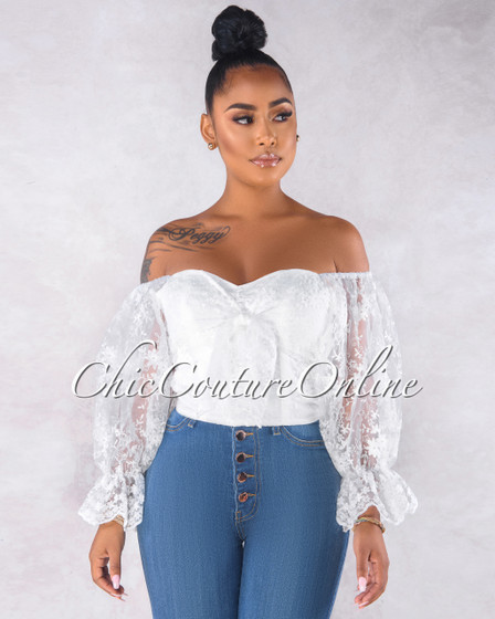 Bamba Off-White  Lace Puffy Sleeves Front Tie Crop Top