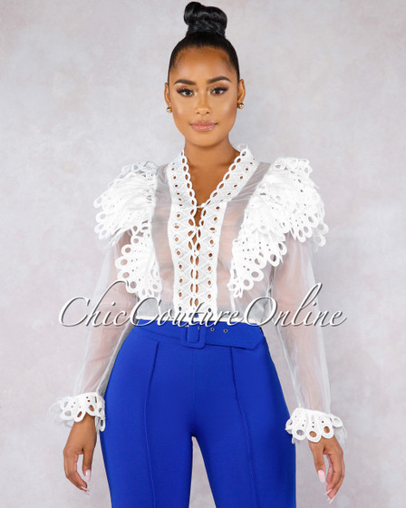 Belizza White Crochet Ruffle See-Through Blouse