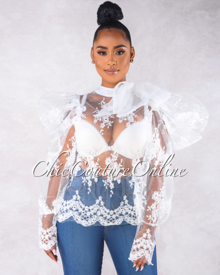 Carter Off White Lace Sheer Necktie Detail Blouse