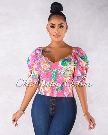 Bravo Beige Fuchsia Floral Print Puffy Sleeves Blouse