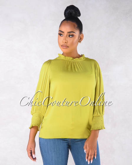 Veronica Chartreuse Satin Long Sleeves Blouse