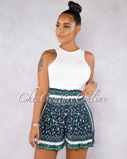 Timmy Navy Blue Multi-Color Print Paper Bag Pleated Shorts