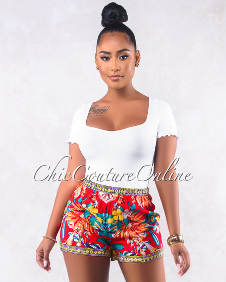 Naasha Red Multi-Color Floral Print Shorts