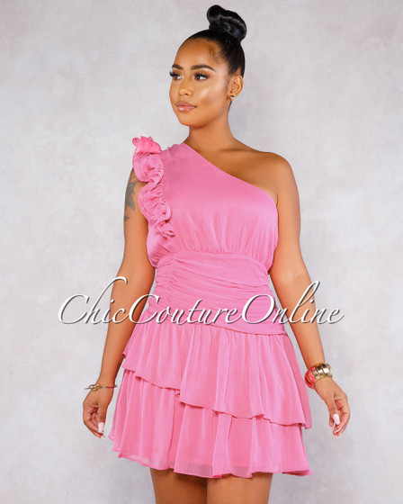 Rezy Fuchsia Single Shoulder Draped Ruffle Dress