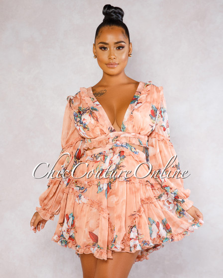 Sandra Salmon Floral Print Cut-Out Ruffle Dress