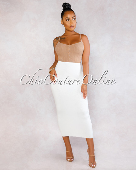 Peonie Off-White Pencil Midi Skirt