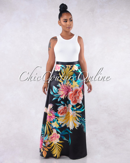 Izabelli Black Floral Print Luxe Satin Maxi Skirt