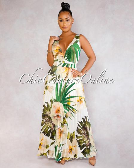 Rahel Beige Leaf Print Bodysuit Pleated Maxi Skirt Set