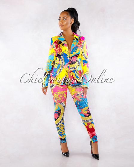 Nelinah Multi-Color Print Blazer Two Piece Set