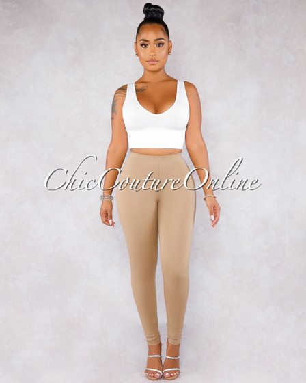 Fabianny Taupe High Waist Leggings
