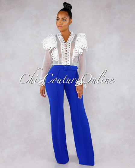 Marlyze Royal Blue Belt High Waist Palazzo Pants