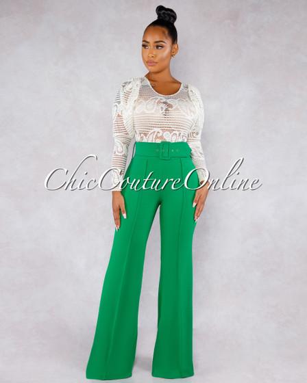 Marlyze Emerald Green Belt High Waist Palazzo Pants