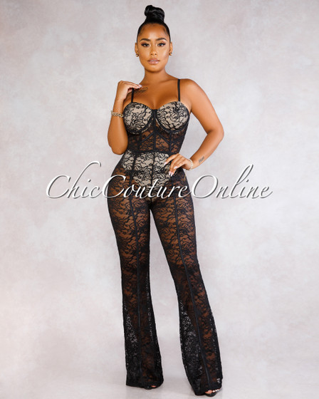 Ivana Black Lace Sheer Nude Illusion Padded Jumpsuit