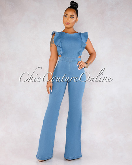 Porter Blue Denim Ruffle Sleeves Jumpsuit