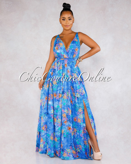 Josephine Blue Multi-Color Floral Print Halter Maxi Dress