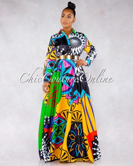 Umana Black Multi-Color Retro Print Maxi Dress