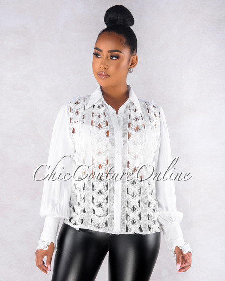 Dominique Off-White Sheer Crochet Accent Blouse