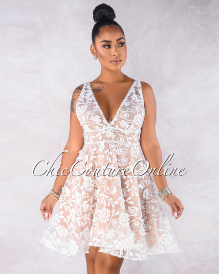 Rosenda White Embroidery Nude Illusion Skater Dress