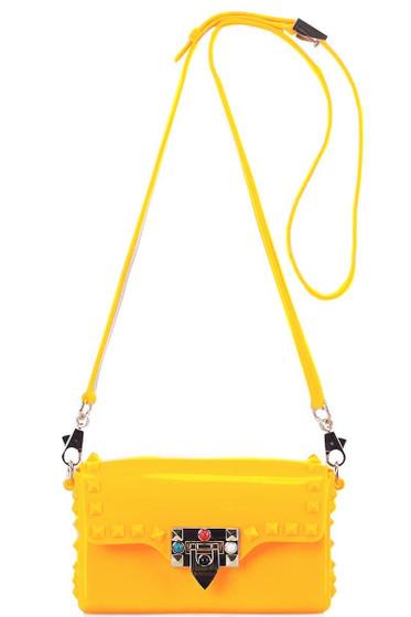 Tarra Yellow Studded Crossbody Bag