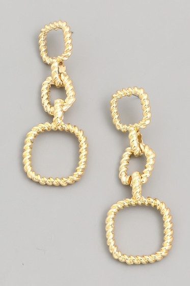 Sanna Gold Square Chain Link Dangle Earrings