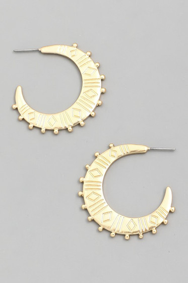 Barbie Gold Crescent Moon Hoop Earrings