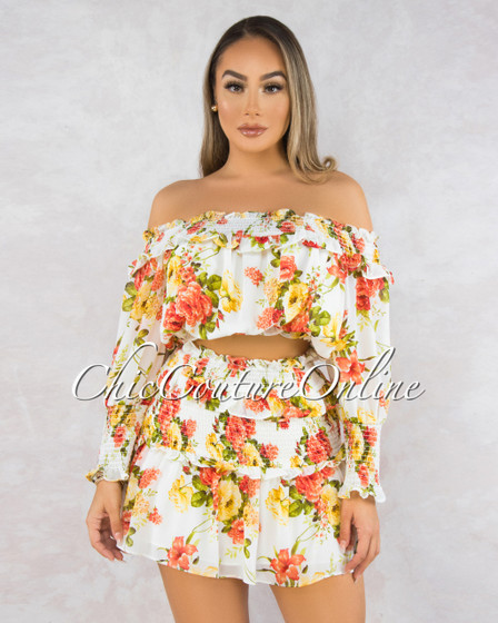 Rosemary Ivory Floral Print Ruffle Skirt Two Piece Set