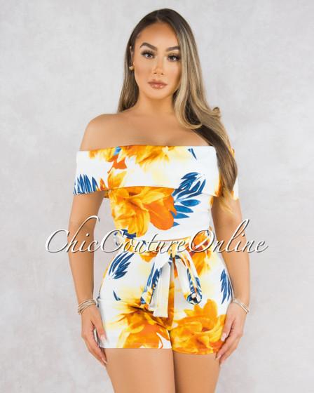 Takisha White Blue Orange Floral Print Two Piece Set