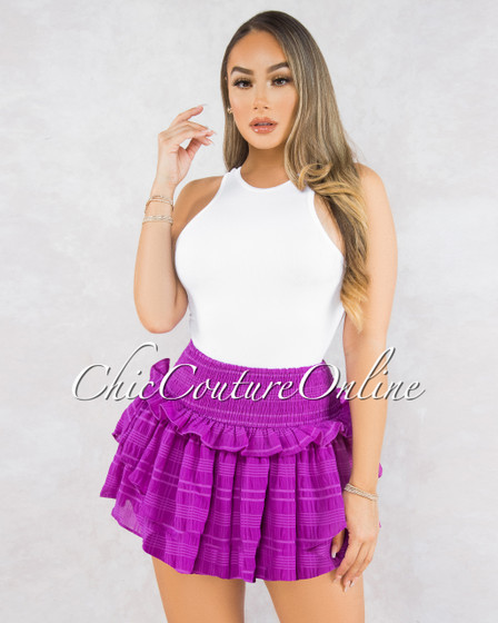 Reya Purple Ruffle Ultra Mini Skirt