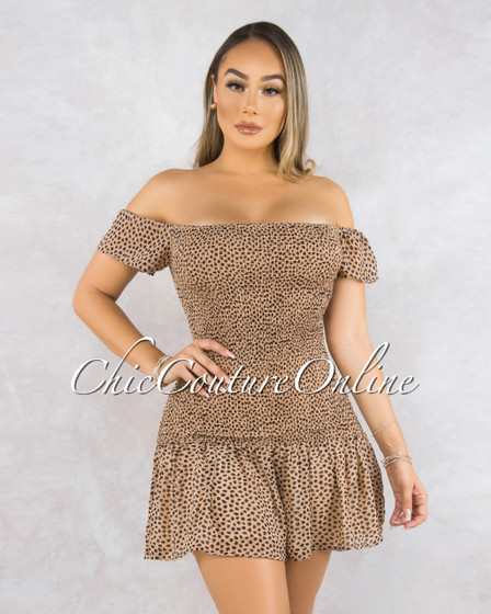 Bettina Mocha Black Dots Smocked Ruffle Mini Dress