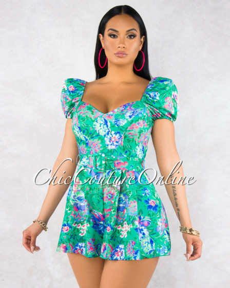 Tina Mint Green Floral Print Puffy Sleeves Romper