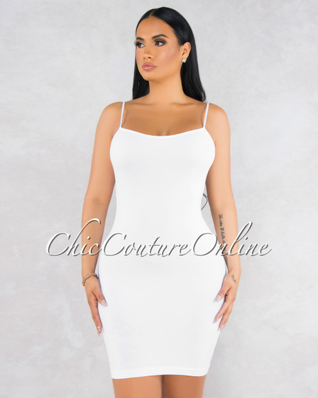 Dynamic White Seamless Body-Con Dress