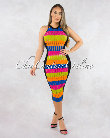 Amelia Black Multi-Color Neon Stripes Eyelet Cover-Up Dress